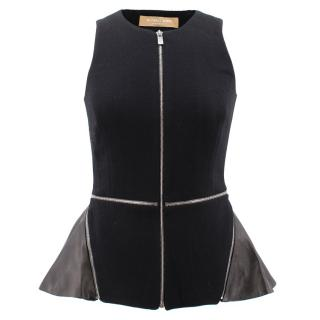 Michael Kors Boucle Crepe Peplum Top with leather details