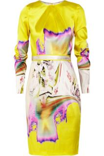 Vera Wang Printed Satin Dress