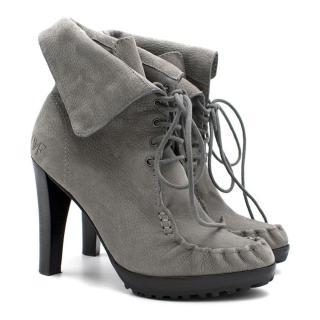 Diane Von Furstenberg Grey Oiled Suede Ankle Boots