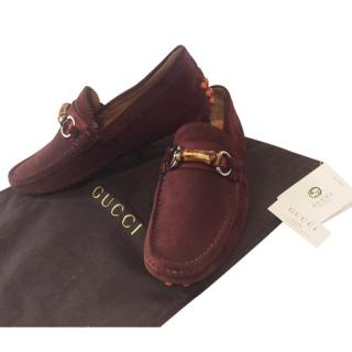 Gucci burgundy suede loafers