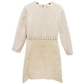 Chloe Linen/Leather  long sleeved Dress