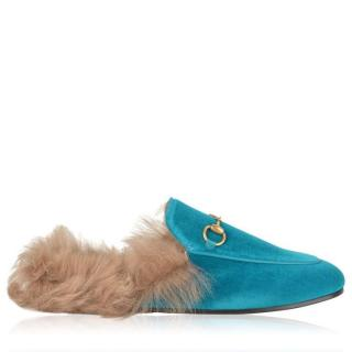 Gucci Pavone Velvet/Fur Slippers