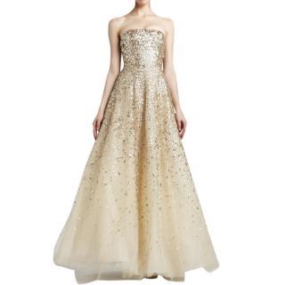 Oscar de la Renta embellished tulle champagne gown