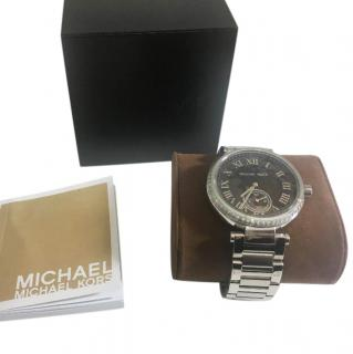 Michael Kors Black Dial with Crystal Bezel - Stainless Steel Watch