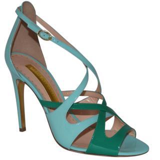 Rupert Sanderson Arlena High Heel Leather Green/Blue Sandals