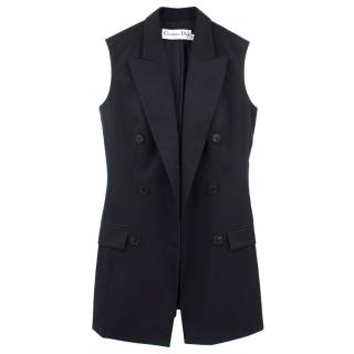 Christian Dior Wool Black Double Breasted Sleeveless Blazer