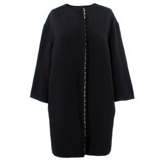 Prada Black Embellished Wool Coat