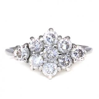 18ct White Gold 1 Carat Diamond Cluster Ring