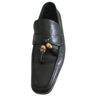Gucci black bamboo tassle Loafers
