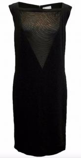 Osman Yousefzada black sleeveless dress with mesh neck