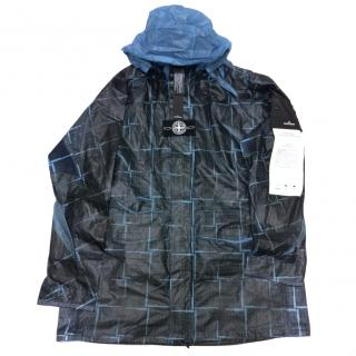 Stone island paper poly house check grid jacket