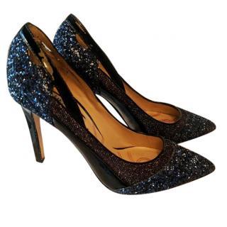Lucy Choi Blue glitter pumps