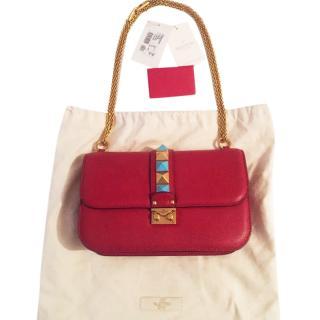 Valentino Glamlock jewel rockstud medium red bag