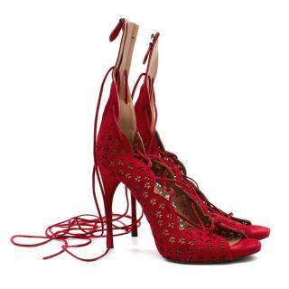 Azzedine Alaia Carine laser-cut suede sandals