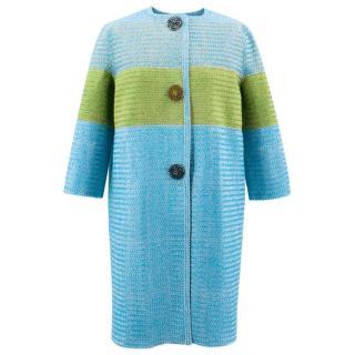 Ermanno Scervino Blue and Green Striped Coat