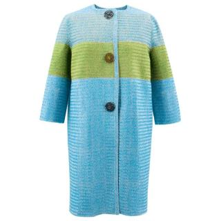 Ermanno Scervino Blue and Green Striped Coat