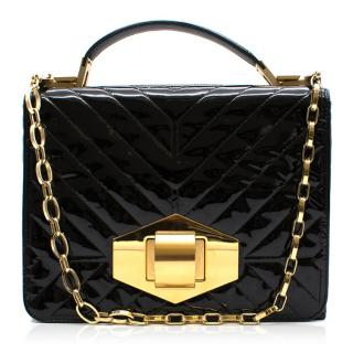 Lanvin Patent Chevron Quilted Shoulder Bag