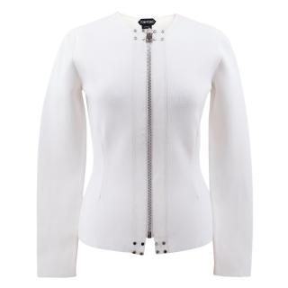 Tom Ford Fitted Jacket With Leather Trim