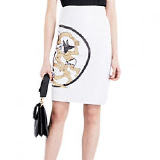 JW Anderson dancing wolves white leather skirt