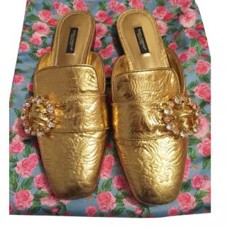 Dolce & Gabbana brocade leather Gold backless slippers