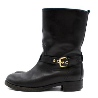 Louis Vuitton Gold Buckle Black Leather Boots