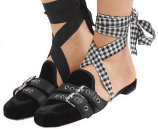 Miu Miu Lace Up Velvet Ballet Slippers