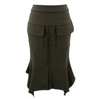 Tom Ford Olive Green Wool Skirt