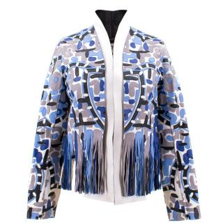 Fendi Patterned Blue Patterned Leather Jacket
