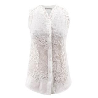 Ermanno Scervino White Lace Cotton Vest Top