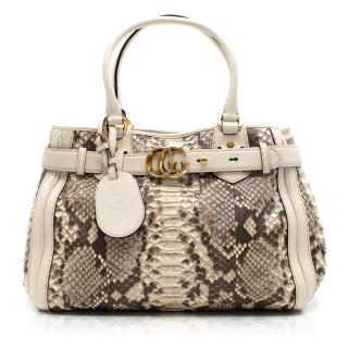 Gucci Brown and Cream Python GG Running Large Satchel Bag