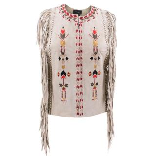 Isabel Marant Leather Fringe Embroidered Vest