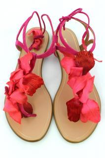 AQUAZZURA Magenta Suede Flat Sandals, UK 5.5 - EU 38.5