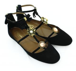 AQUAZZURA Black Suede Crystal Embellished Sandals, UK 4 - EU 37