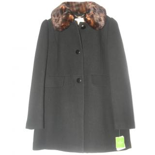 Kate Spade New York Faux Fur-Trimmed Button-Front Coat