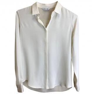 Loro Piana cream two tone Silk Shirt