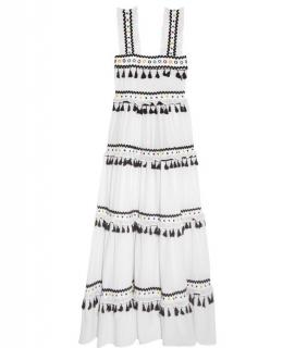 Dodo Bar Or Amal cotton maxi tiered dress with tassels and embroidery