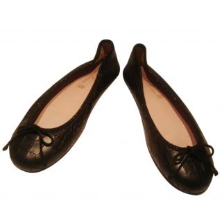 Pretty Ballerinas Black Leather Flats