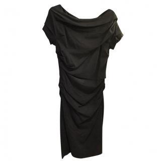 Escada ruched black off the shoulder  Dress