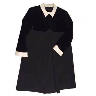 The Kooples black velvet satin collar cuff A line mini dress