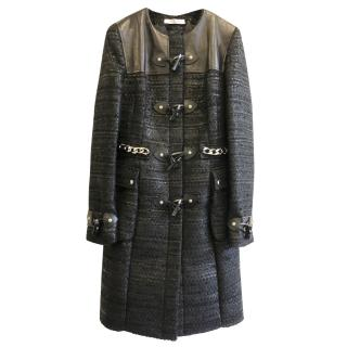 Givenchy Leather & Tweed Coat