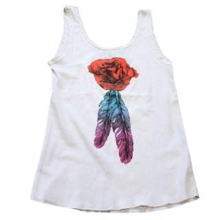 Wildfox pink rose and feather vest tank top