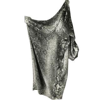 Stella McCartney Off the Shoulder python print Dress