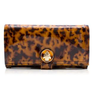 Gucci Brown and Black Patent Leather Tortoiseshell Wallet