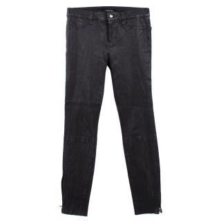 J Brand Super-Skinny Mid-Rise Leather Leggings
