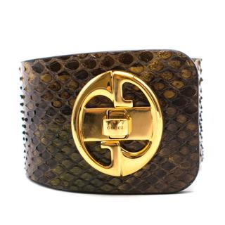 Gucci Green and Brown Python Cuff Bracelet