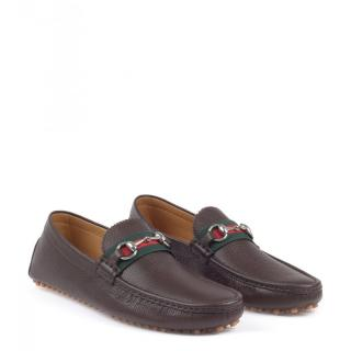 GUCCI brown leather horse bit driver shoes