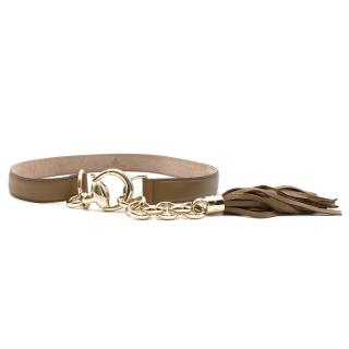 Gucci Beige Leather Belt With Tassels