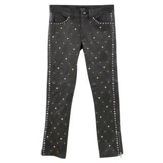 Isabel Marant Grey Leather Embellished Trousers