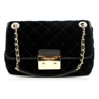 Michael Kors Black Velvet Quilted Crossbody Bag