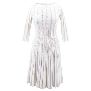 Alaia Jacquard-knit White Flared Midi Dress